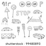 traffic and transportation vector set - stock vector