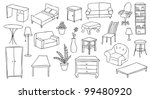 furniture and decoration vector set - stock vector