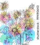 romantic colorful flower... | Shutterstock .eps vector #99490643