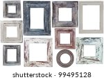many old frames of rectangular and round - stock photo