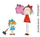 younger sister with a hammer... | Shutterstock .eps vector #99526487