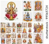 collage  with hindu gods , India - stock photo