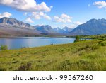 Scenic landscape in Glacier national park - stock photo