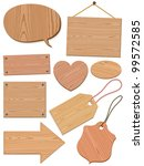 Set of woodgrain icons with speech bubbles, tags, boards, heart - stock vector