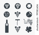 Wine theme icons. Vector - stock vector