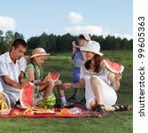 families picnic outdoors with... | Shutterstock . vector #99605363