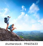 young tourists with backpacks... | Shutterstock . vector #99605633