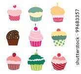 set of 9 cute cupcakes   vector | Shutterstock .eps vector #99683357