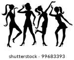 black vector silhouette dancing ... | Shutterstock .eps vector #99683393