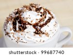 Coffee with shaved chocolate and whipped cream - stock photo