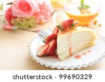 Freshness strawberry and crape cake with english tea for afternoon tea image - stock photo