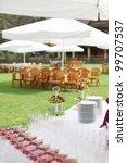 wedding buffet with fruit on... | Shutterstock . vector #99707537