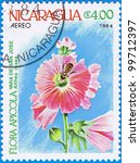 Small photo of NICARAGUA - CIRCA 1984: A stamp printed in Nicaragua shows Althea rosea, series, circa 1984