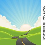 blue summer landscape road ... | Shutterstock . vector #99712907
