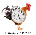 Collage. Rooster Alarm Clock - stock photo