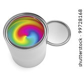 single open paint can filled with multicolor paint swirl, isolated on white. aRGB color profile - stock photo
