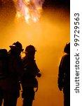 Firefighters Fight A Blaze As ...