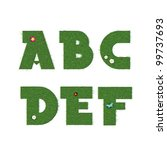grass letters with summer decor.... | Shutterstock .eps vector #99737693