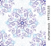 Gentle white-blue seamless background with round blue-violet floral pattern (vector) - stock vector