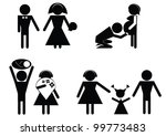 Set sign and symbol happy family. - stock vector