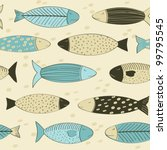 Fish seamless background - stock vector