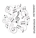 music. treble clef and notes...   Shutterstock .eps vector #99799997