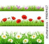 3 flower border with grass ... | Shutterstock .eps vector #99809417