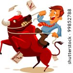 Deal with Bullish Market. Vector Illustration - stock vector