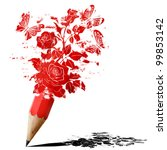 red pencil fancy of roses with butterflies isolated on white - stock photo