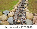 Water Drain In The Garden - stock photo