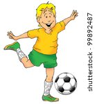 an excited boy about to kick a... | Shutterstock . vector #99892487