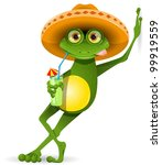 green frog in a sombrero and a cocktail - stock vector