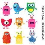 set of cute cartoon monsters. vector illustration