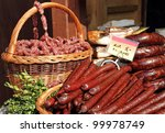 sausages for sale on food market in Krakow, Poland, Europe - stock photo