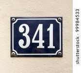 house number 341 - stock photo