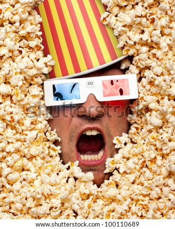 surprised face in popcorn with
