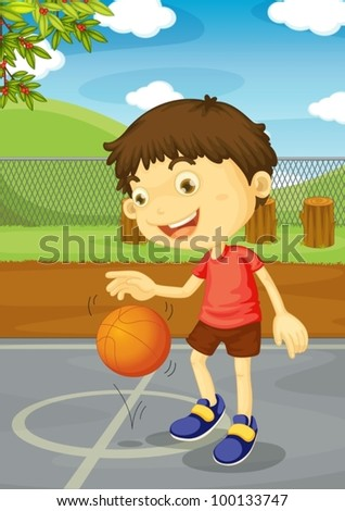 illustration of a boy playing