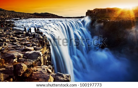 dettifoss waterfall at sunset