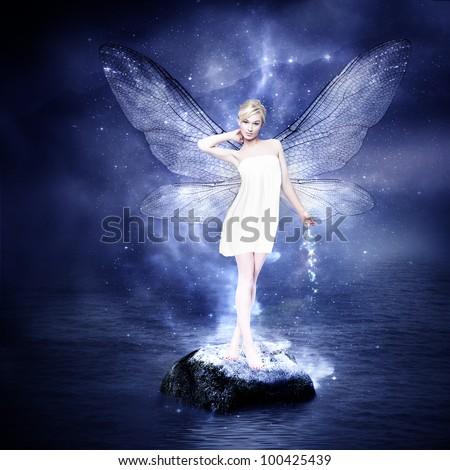 magical young blond woman as