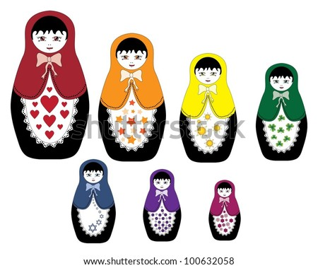 rainbow series of babushka