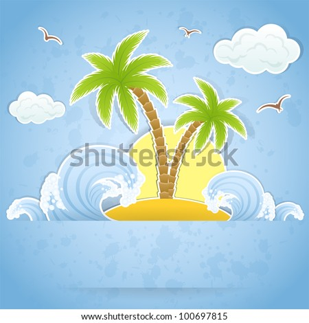 tropical island with palms and
