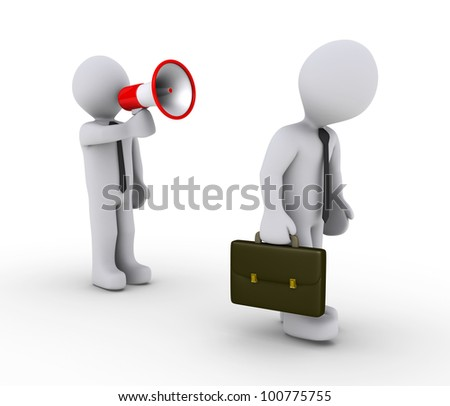 3d businessman with megaphone