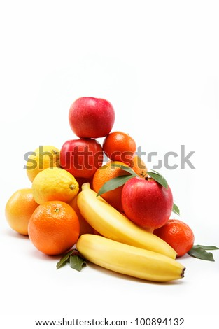 fresh fruit on a white