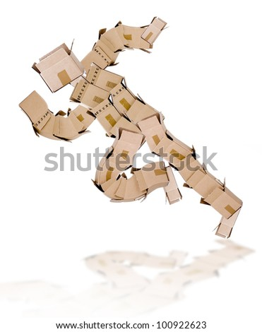 running man made of boxes on