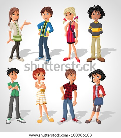 group cartoon people teenagers