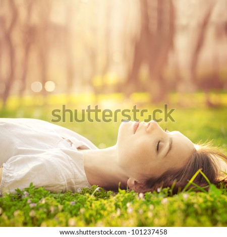 beautiful girl relaxing lying