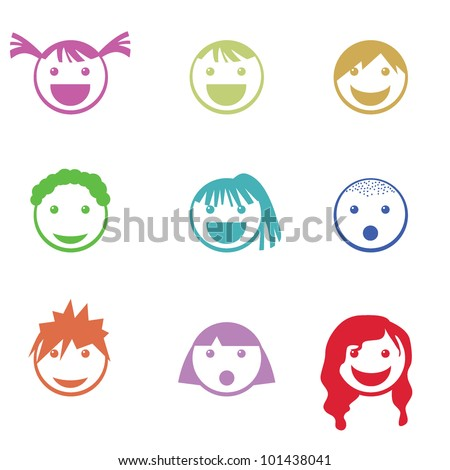 children face icons for mobile