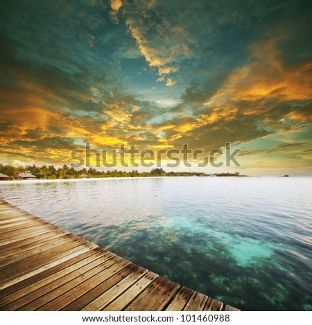 maldives serenity at sunset