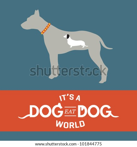 dog eat dog vector illustration
