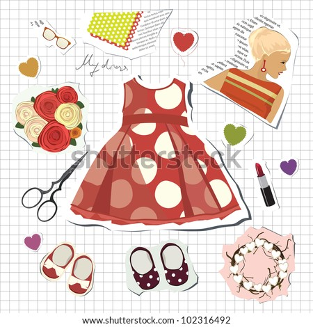 little girl's scrapbook vector